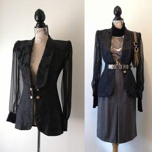 Vintage 90's Gothic victorian sheer arm blazer